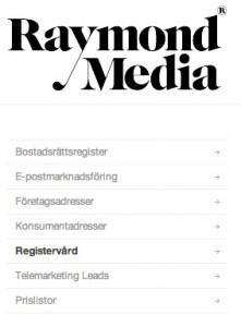 Registervård Raymond Media